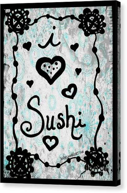 Canvas Print featuring the drawing I Heart Sushi by Rachel Maynard