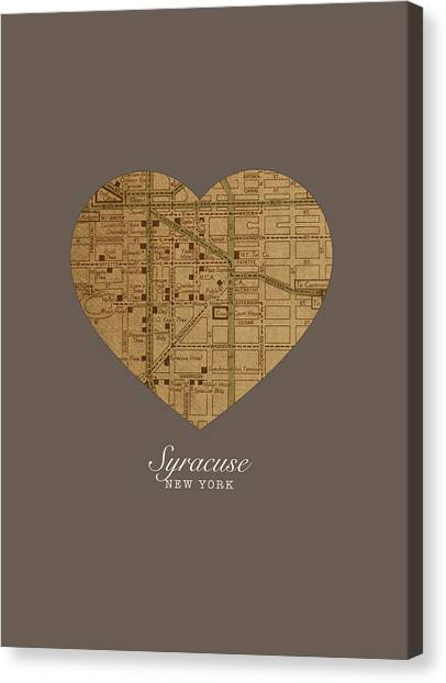 Syracuse University Canvas Print - I Heart Syracuse New York Vintage City Street Map Love Americana Series No 053 by Design Turnpike