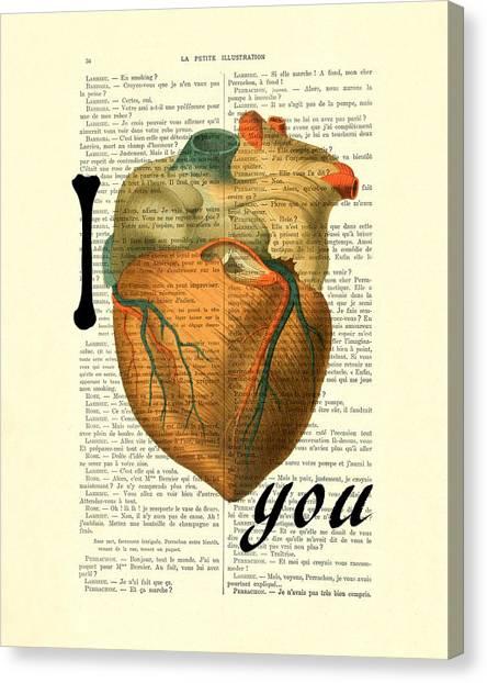 Anatomy Canvas Print - I Heart You by Madame Memento