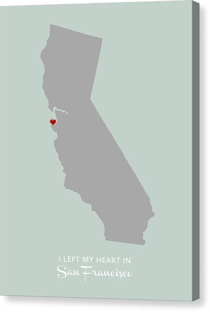Canvas Print featuring the digital art I Left My Heart In Sf by Nancy Ingersoll