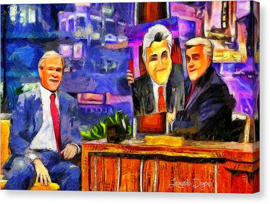 George Bush Canvas Print - I Like To Paint Dogs Too by Leonardo Digenio