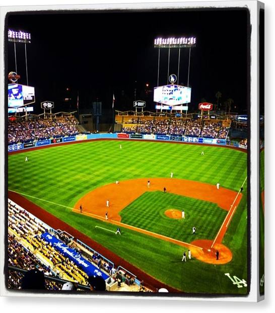 Los Angeles Dodgers Canvas Print - I Love Baseball by Raul Perez