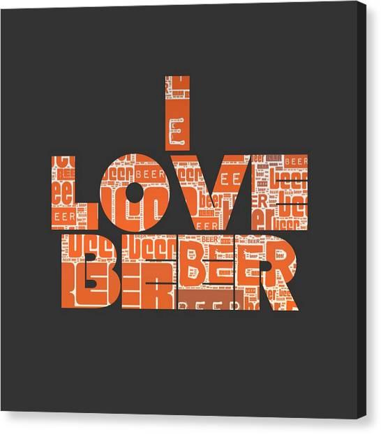Craft Beer Canvas Print - I Love Beer by Brandi Fitzgerald