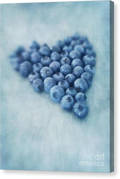 Blueberries Canvas Print - I Love Blueberries by Priska Wettstein