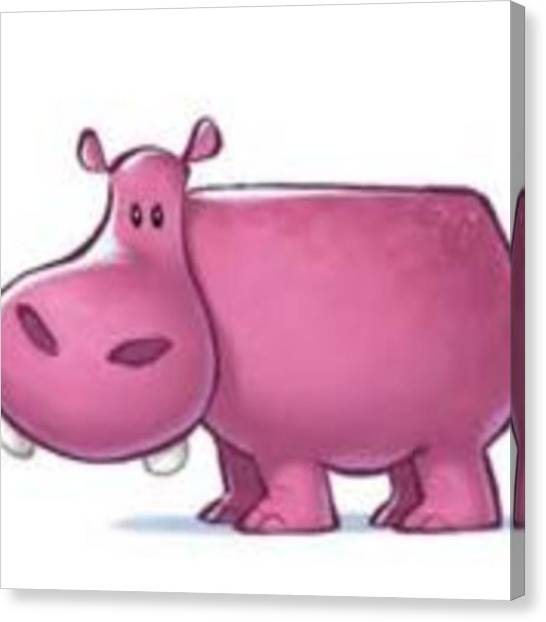 Hippos Canvas Print - I Love Hippos (; #hippo#pink by Carmen Bone