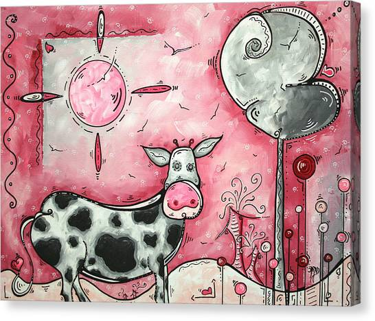 Farm Animals Canvas Print - I Love Moo Original Madart Painting by Megan Duncanson