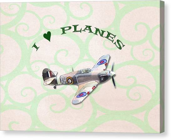 Canvas Print featuring the digital art I Love Planes - Hurricane by Paul Gulliver