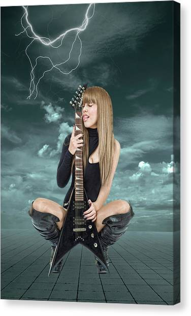 Rock And Roll Canvas Print - I Love Rock And Roll by Smart Aviation