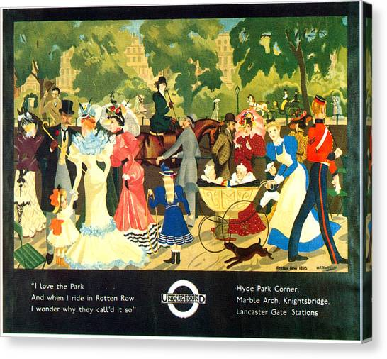 Hyde Park Canvas Print - I Love The Park - London Underground, London Metro, Suburban - Retro Travel Poster by Studio Grafiikka
