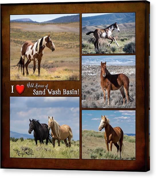 I Love Wild Horses Of Sand Wash Basin Canvas Print