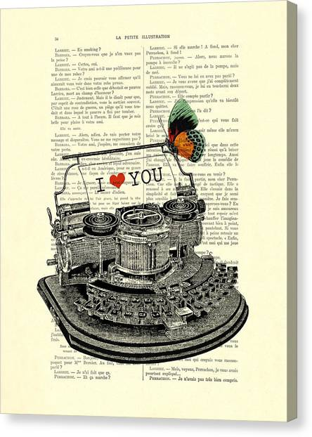 Wedding Gift Canvas Print - I Love You by Madame Memento
