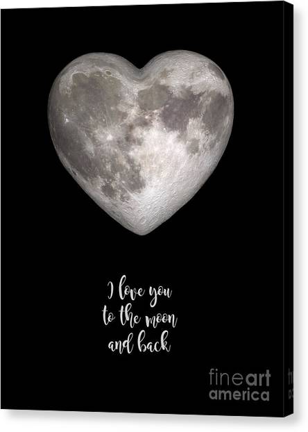 Wedding Gift Canvas Print - I Love You To The Moon And Back by Delphimages Photo Creations