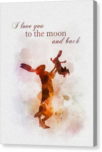 New Baby Canvas Print - I Love You To The Moon And Back by Rebecca Jenkins