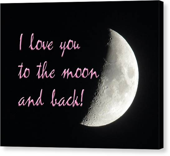 I Love You To The Moon Pink Canvas Print