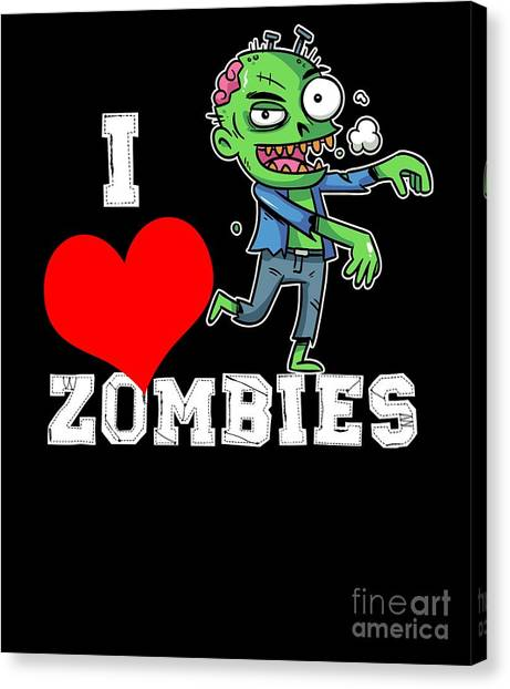 Canvas Print - I Love Zombies Halloween by Thomas Larch
