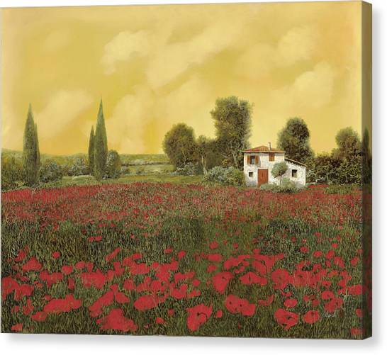 Cypress Canvas Print - I Papaveri E La Calda Estate by Guido Borelli