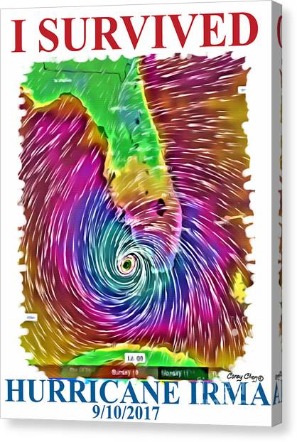 Hurricanes Canvas Print - I Survived Hurricane Irma by Carey Chen