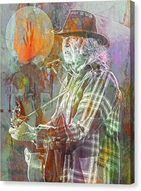 Neil Young Canvas Print - I Wanna Live, I Wanna Give by Mal Bray