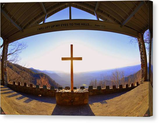 Canvas Print featuring the photograph I Will Lift My Eyes To The Hills Psalm 121 1 by Lisa Wooten