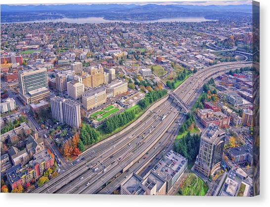 I5 Seattle Aerial View Canvas Print