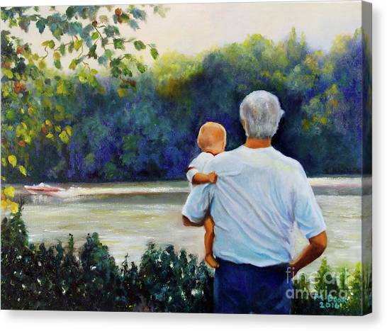 Ian And His Daddy One Sunday Afternoon Canvas Print