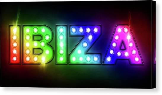 Neon Canvas Print - Ibiza In Lights by Michael Tompsett