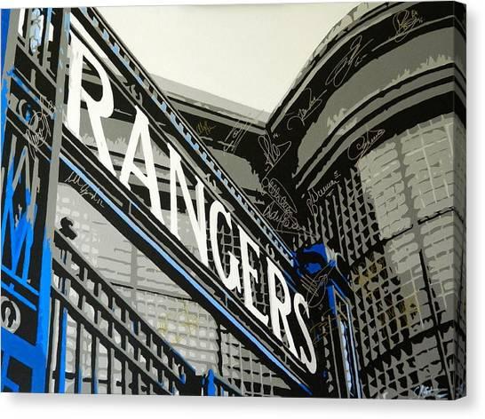 Uefa Champions Canvas Print - Ibrox Gates by Scott Strachan