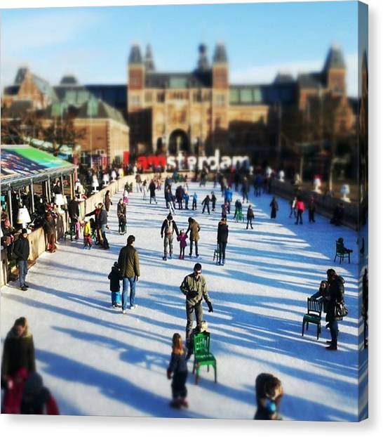 Rijksmuseum Canvas Print - #ice #amsterdam Ice Skating In Front Of by Steven Brink