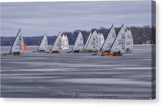 Ice Boat Racing - Madison - Wisconsin Canvas Print
