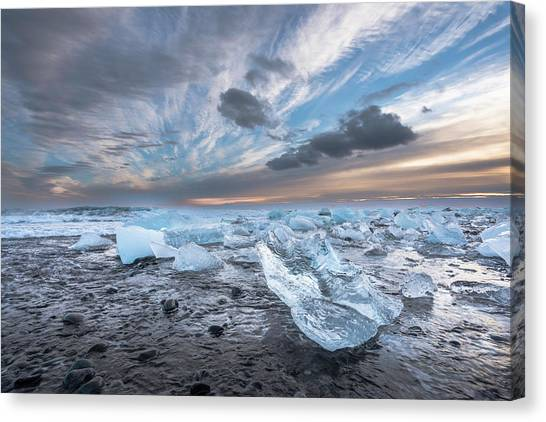 Ice Chunks Sunset 2 Canvas Print