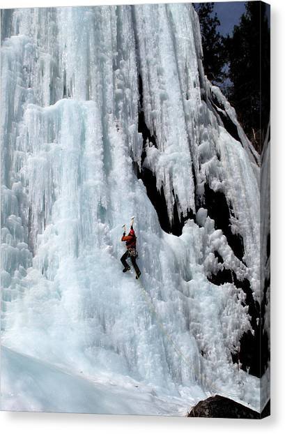 Ice Climbing In The Adirondack Mountains Of New York At Pok-o-moonshine Cliff Canvas Print by Brendan Reals