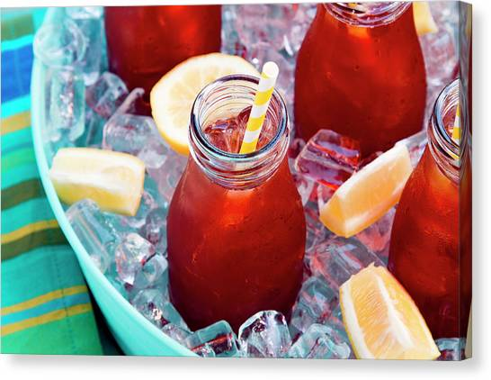 Sweet Tea Canvas Print - Ice Cold Iced Teas by Teri Virbickis