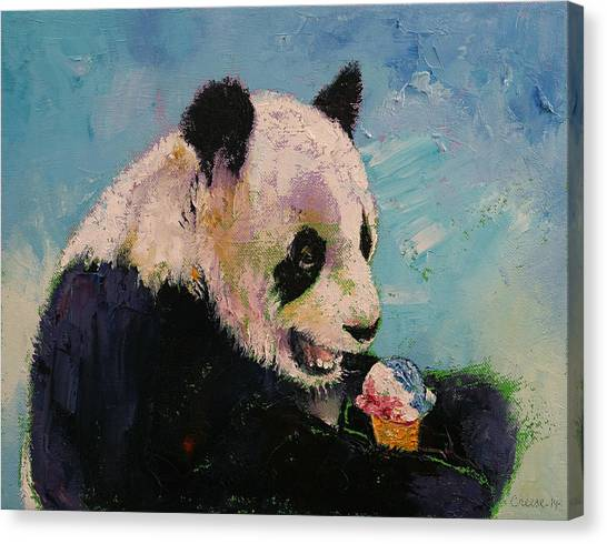 Panda Canvas Print - Ice Cream by Michael Creese