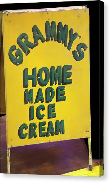 Canvas Print featuring the photograph Ice Cream Sign by Chris Flees