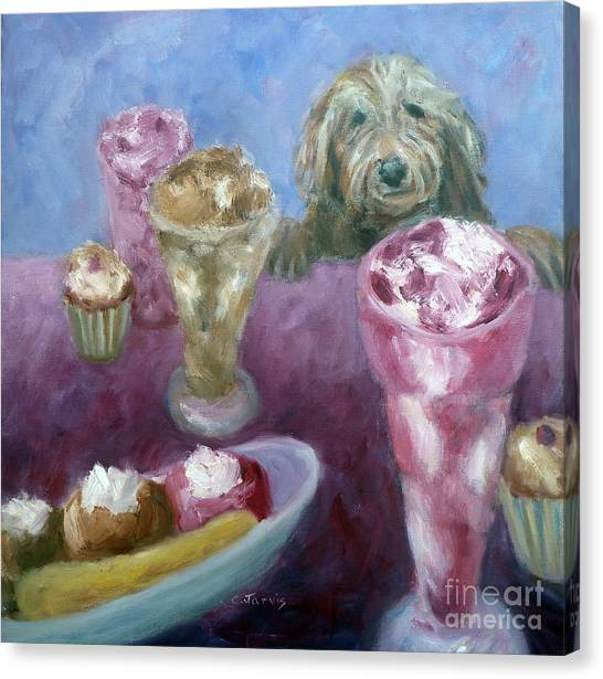 Ice Cream With Dog Canvas Print