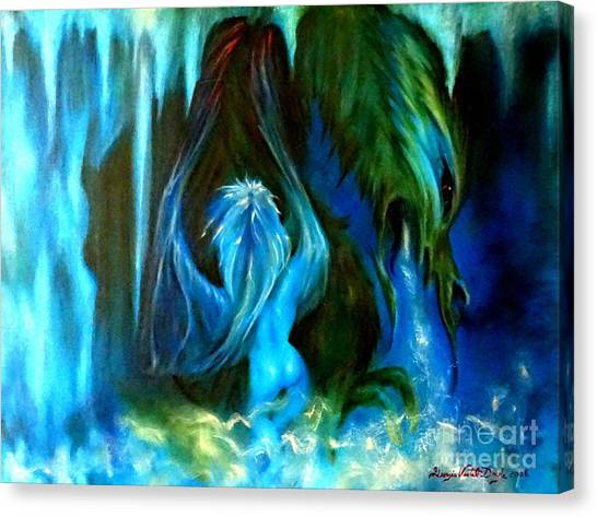Fantasy Cave Canvas Print - Dance Of The Winged Being by Georgia's Art Brush