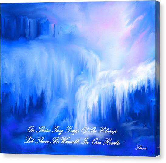 Ice Falls Canvas Print by Sherri's - Of Palm Springs