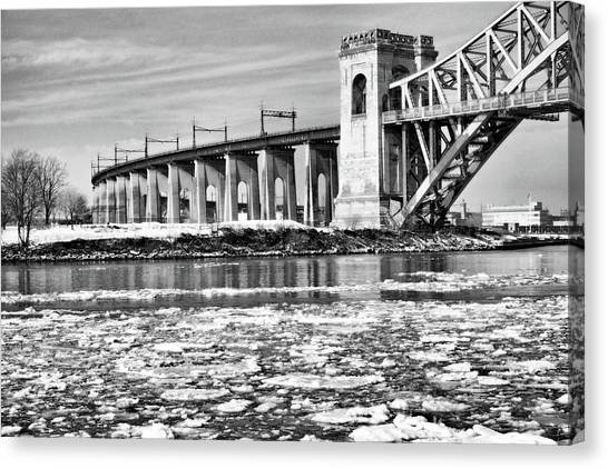 Ice Flows On The East River Canvas Print