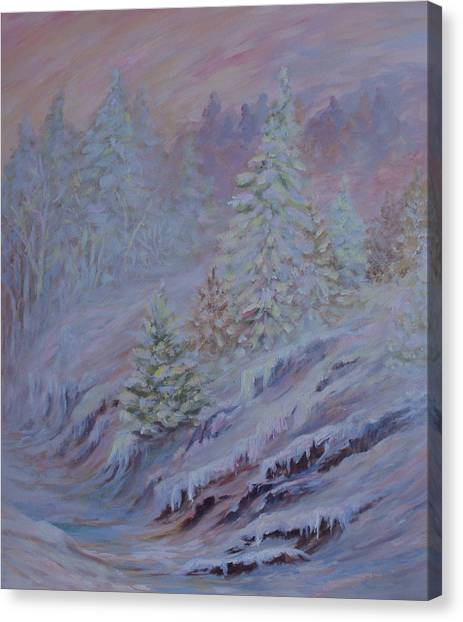 Ice Fog In The Forest Canvas Print