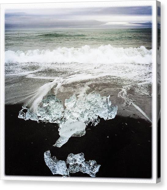 White Canvas Print - Ice In Iceland by Matthias Hauser
