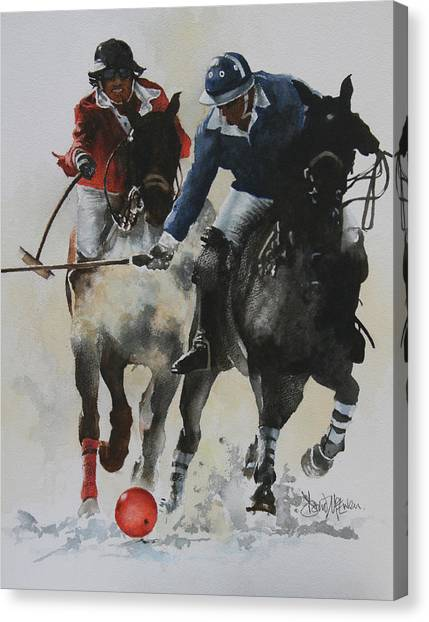 Polo Canvas Print - Ice Polo 1 by David McEwen