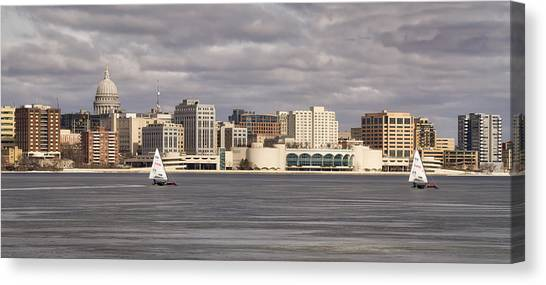 Ice Sailing - Lake Monona - Madison - Wisconsin Canvas Print