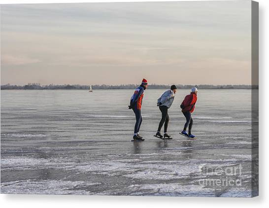 Speed Skating Canvas Print - Ice Skating On A Lake by Patricia Hofmeester