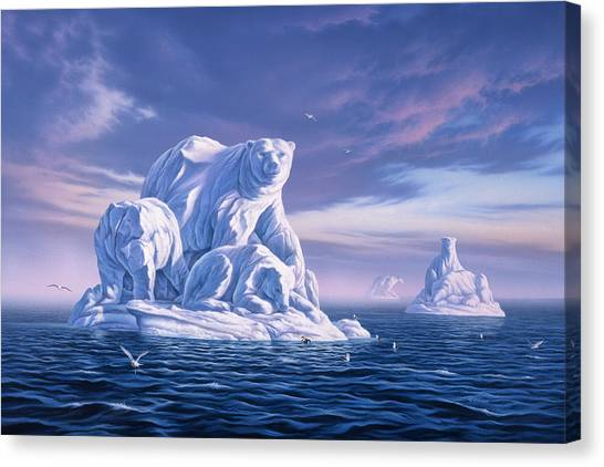 Polar Bears Canvas Print - Icebeargs by Jerry LoFaro