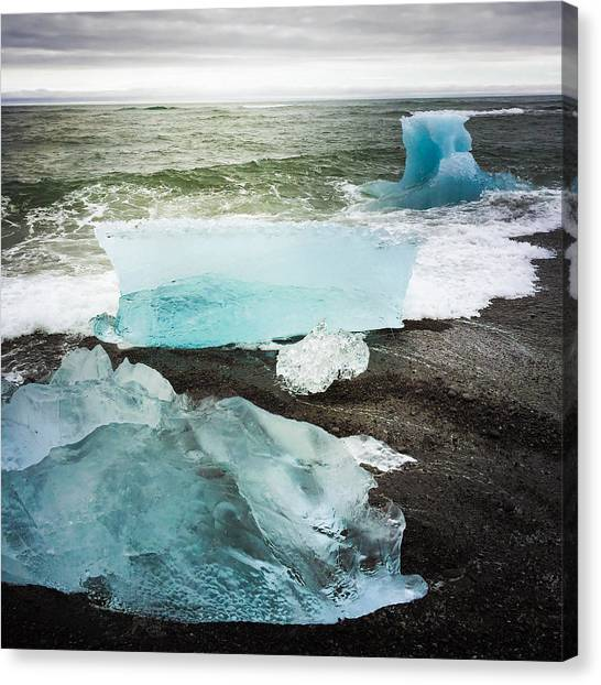 White Canvas Print - Iceberg Pieces Jokulsarlon Iceland by Matthias Hauser