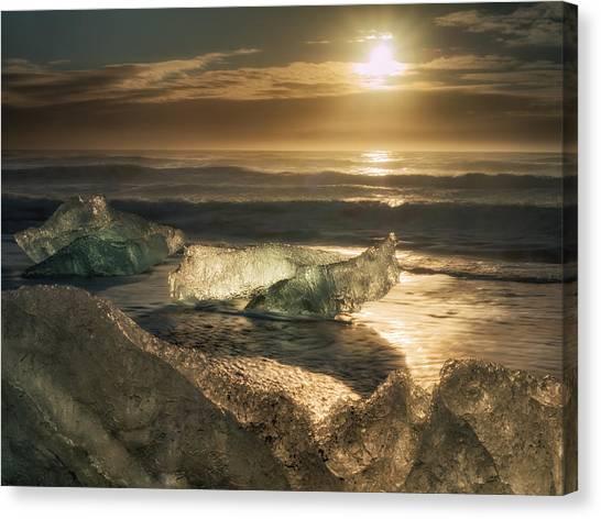 Vatnajokull Glacier Canvas Print - Iceberg Sunrise by Dan Leffel
