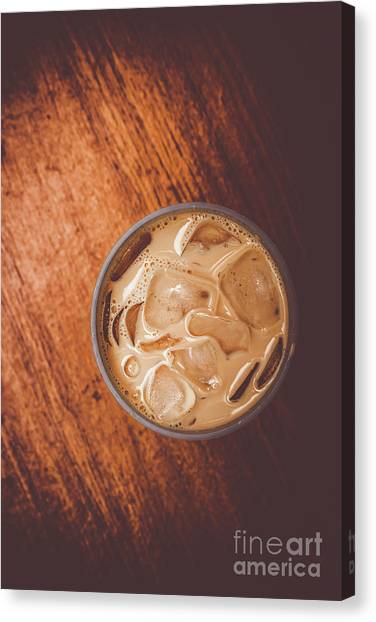 Coffee Shops Canvas Print - Iced Coffee Beverage On Copy Space by Jorgo Photography - Wall Art Gallery