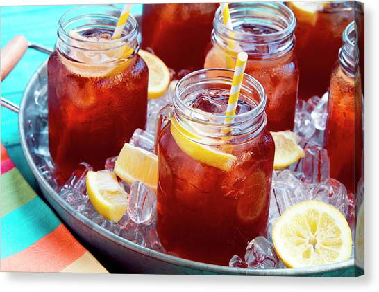 Sweet Tea Canvas Print - Iced Teas In Mason Jars by Teri Virbickis