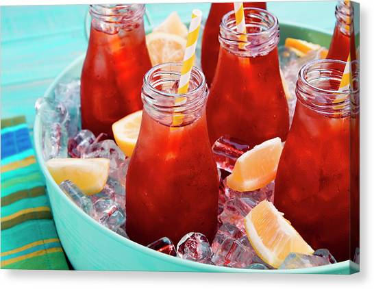 Sweet Tea Canvas Print - Iced Teas With Straws by Teri Virbickis