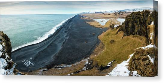 Iceland Coast And Black Beach Panorama Canvas Print